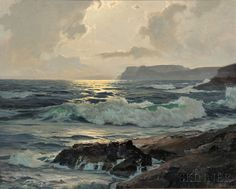 "Frederick Judd Waugh (American, 1861-1940) ~ ""Sunset at Sea"" ~ Oil  25""x30"""