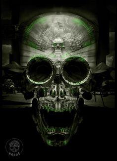 KRANE - Vanity, bones and skull ☠ illustrations and painting Skull Illustration, Skulls, Bones, Skeletons, Cyber, Sugar, Green, Black, Skull