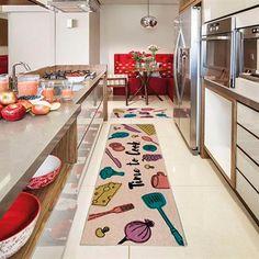 Passadeira para Cozinha Kapazi Cotton 160x50 cm Time com Antiderrapante