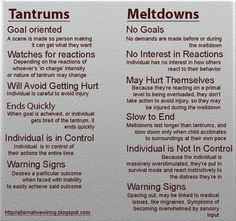 What is SPD? The Basics and Common Misconceptions. Good graphic on tantrums vs. meltdowns.