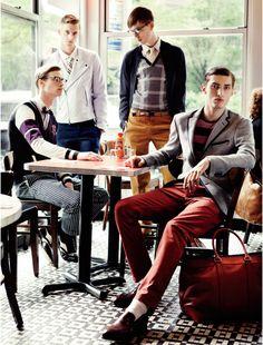 Charlie France, James Smith, Milo Spijkers & Philipp Bierbaum Lunch for Elle Men Mexico by Santiago Ruiseñor