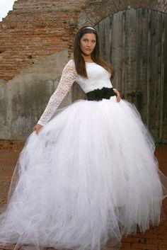 Tutu ideas on pinterest tutus diy tulle skirt and tutu for How to make a long tulle skirt for wedding dress