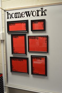 Picture frame homework board, use Expo markers