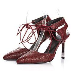 AIWEIYi Womens Pointed toe High Heel Sandals Slingbacks Lace up Platform Summer Shoes * Visit the image link more details.