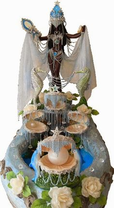 Stunning Yemaya altar with pearls and seashells. African Mythology, African Goddess, Oshun Y Yemaya, Oshun Goddess, Yoruba Orishas, Voodoo, Yoruba Religion, Yoruba People, Black Art Pictures