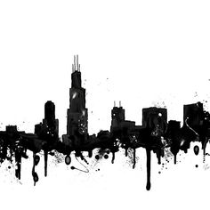 Watercolor Chicago Skyline Art Print