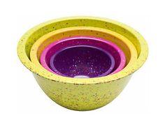 Set of 4 Melamine Confetti Mixing Bowls Nested Bright Retro Colors BPA Free