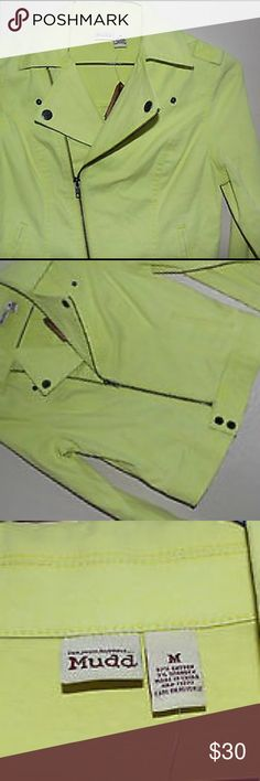 MUDD Moto Limelight Neon Yellow Jacket Brand New. Never Worn. No Trades. 97% Cotton. 3% Spandex. Jackets & Coats