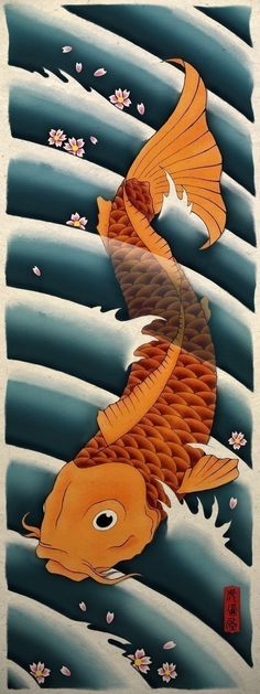 A beautiful 9x24 inch art poster print of Asian Koi with cherry blossoms. The Koi struggles against the current of the river using it's strength and perseverance to succeed. Because of this, it has become a symbol of success and strength for passing tests with distinction and not giving up. The original was a mix media painting.  The art is printed in excellent quality on a decorative hand made fiber paper. The paper is a natural light tan color and has a nice texture and fiber inclusions...