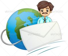 Businessman with Envelope by interactimages Illustration of an envelope in front of the businessman with a mustache on a white background