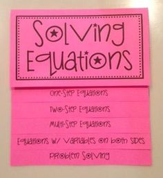 Solving Equations in Algebra 1 (Foldable)-OutsideSo this isn& really for spanish, but it falls under teaching :) Math Teacher, Math Classroom, Teaching Math, Teaching Activities, Interactive Student Notebooks, Math Notebooks, Solving Linear Equations, Equation Solving, Problem Solving