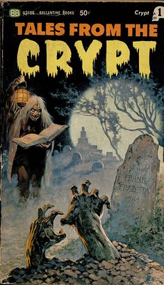 Tales From The Crypt, Cover Art by Frank Franzetta. Clever guy threw his name on the tombstone.