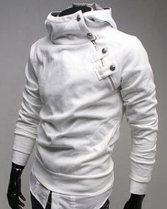fb928910c052 Zipper and Button Embellished Hooded Long Sleeve Men s Hoodie. Mens  SweatshirtsMen s HoodiesSlim FitPulloverSweater ...