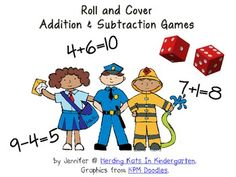 $1.50 Community Helpers Roll & Cover Addition & Subtraction Games!