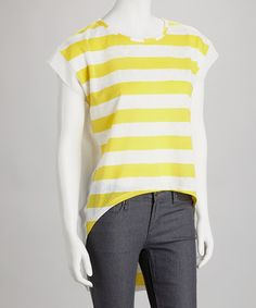 Take a look at this Yellow & White Stripe-Front Hi-Low Top by Rain on #zulily today! $27.99, regular 80.00
