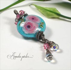 Handmade lampwork bead sterling silver and crystal by Annelibeads - Annelis pärlor