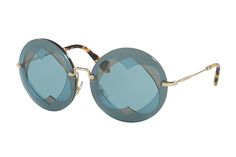 Miu Miu MU55RS 7OE-6X1 Antique Gold MU55RS Cats Eyes Sunglasses