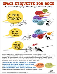 Space etiquette for dogs. Respect the living space of the dogs. Like each and everyone, each dog needs to have its living space. An illustrated guide to the attention of the owners of too friendly dogs.
