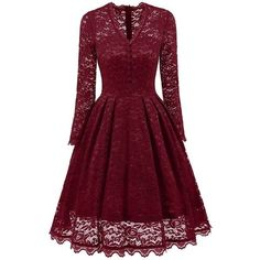 V neck Lace Party Vintage A Line Dress ($24) ❤ liked on Polyvore featuring dresses, rosegal, a line party dress, v neckline dress, v-neck dresses, party dresses and v neck dress