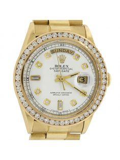 Vintage Rolex Day-Date President 18k Gold 1807 36mm 2.00ctw Diamond Watch w/ Box