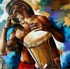 The sound of the drum run through my veins. Black Love Artwork, Black Art Pictures, Nature Pictures, African Art Paintings, Haitian Art, Caribbean Art, Orisha, Ap Art, African Culture