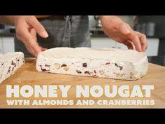 Honey Nougat with almonds and cranberries - Sandy La Pastelera Pecan Recipes, Cranberry Recipes, Honey Recipes, Almond Recipes, Sweet Recipes, Baking Recipes, Italian Nougat Recipe, Almond Nougat Recipe, Christmas Hamper