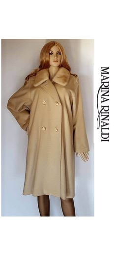 Marina Rinaldi by Max Mara prestigious coat 80s in virgin wool and cashmere  with mink neck 02eb558e125