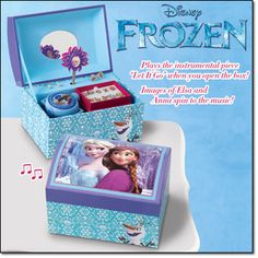 "Frozen Jewelry Box Keep your sparkling valuables tucked away in this cool jewelry box featuring Disney's Frozen sisters Elsa and Anna. When opened, plays the instrumental version of ""Let It Go""as the Elsa and Anna cameos rotate. 6"" W x 4"" H x 4"" D. Ages 8 and up. Imported. Item#: 328-986 Brochure: $16.99 Contents not included. © Disney"