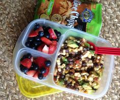Office lunch: avocado, black bean and corn with south western salsa and berry salad. #lunchrevolution