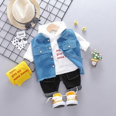 Baby / Toddler Letter Print Hooded and Solid Vest with Jeans Set Baby Outfits Newborn, Baby Boy Outfits, Kids Outfits, Toddler Boy Fashion, Kids Fashion, Toddler Boys, Baby Boy Dress, Trendy Baby Clothes, Frocks For Girls