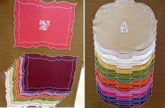 LA Gallina-Matta - Beautiful monogrammed table linens.  Saw these at market, still debating!
