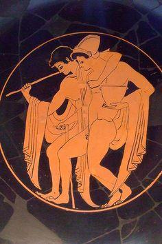 Red-figured kylix (wine cup) with Revelers Greek Athens BCE Terracotta Ancient Greek Sculpture, Ancient Greek Art, Ancient Romans, Ancient Greece, Greek Paintings, Greek Warrior, Greek Pottery, Roman Art, Gay Art