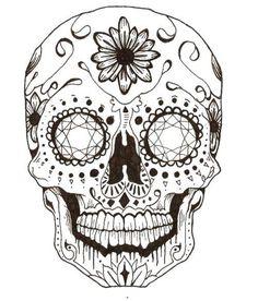 Раскраска Череп в узорах с рисунками ,череп, узоры, цветы, ,Череп,