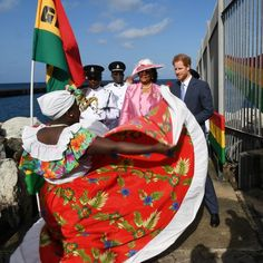 Moving to the island sound! Harry was greeted by colorful dancers and well-wishers during the welcome parade upon his arrival to Grenada.