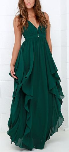 Water-Falling for You Dark Green Maxi Dress from Lulus.