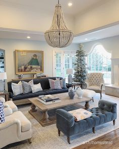 Beaded Chandelier Living room Restoration Hardware Beaded Chandelier Clay Bead Empire Chandelier Ivory … - ALL ABOUT Living Room Decor Traditional, Elegant Living Room, Formal Living Rooms, Home Living Room, Living Room Designs, Living Room Ideas Modern Contemporary, Blue Living Room Decor, French Country Living Room, Chandelier In Living Room