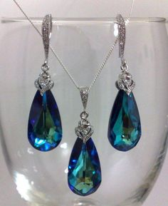 TIFFANY - Something Blue, Teal Peacock Bridal Earrings Necklace Set, Swarovski Teardrop Wedding Jewelry, AURA SET