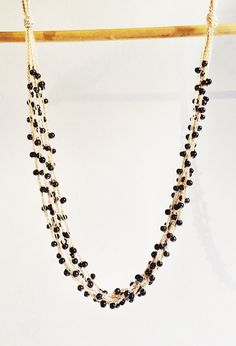 Brown and gold layers crochet necklace by GabyCrochetCrafts