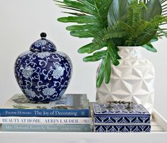 Books, ceramics and greenery.                                                                                                                                                                                 More