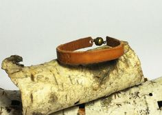 Chevron Engraved Leather Bracelet with by CicadaLeatherDesigns