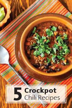 These 5 Crockpot Chili Recipes are healthy and kid-friendly and perfect for a chilly fall night. With minimal prep, you can go about your day and come home to a ready-made, home-cooked meal the whole family will love. They're also perfect for a packed lunch or make-ahead dinners for busy families.