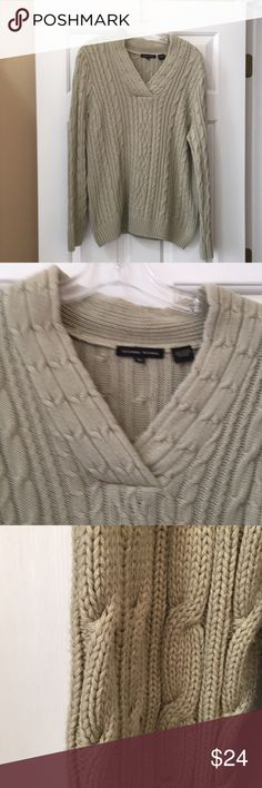 "Sweater Jeanne Pierre Cable knit sweater. V neck. Light sage. EUC. Bust is 22"" pit to pit. Length is 26"" from shoulder ti hem Jeanne Pierre Sweaters V-Necks"
