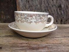 Vintage Gold and White Teacup and Saucer set.