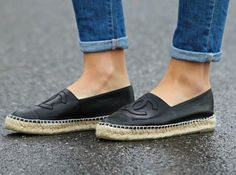 Black Chanel espadrilles 36 Black lambskin Chanel espadrilles with thick sole. Purchased in Barneys New York Worn with love ❤️ CHANEL Shoes Espadrilles Espadrille Chanel, Chanel Shoes Espadrilles, Flats, Hot Heels, Chanel Black, Barneys New York, Shoe Game, Summer Shoes, Fashion Shoes