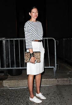 Jenna Lyons made sneakers look chic with a classic striped tee.