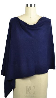 Midnight Blue 100% Cashmere Poncho. Wear it 4 ways. Comes in 50+ Colors.