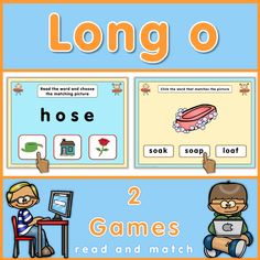 Long o PowerPoint games. This set has 2 games to practice long o words by matching pictures and words. The games are easy to understand and self-correcting.