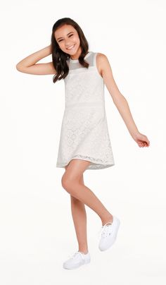 The Liz Dress Ivory medallion stretch lace fully lined shift dress with band detail and mesh yoke Tween Event & Party Dresses Cotillion Dresses, Mini Prom Dresses, Holiday Party Dresses, Dresses For Teens, Outfits For Teens, Graduation Dresses, Girl Clothing Websites, Teen Clothing, Bat Mitzvah Dresses