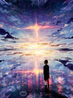 удивительно, аниме, красочно, девушка, пейзаж, манга, небо, вид, вода