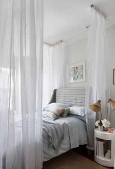 sheer curtain bed canopy